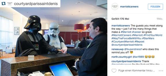 Die Begegnung mit Prominenten ist eine der Vorzüge als Mitarbeiter von Marriot Hotels.